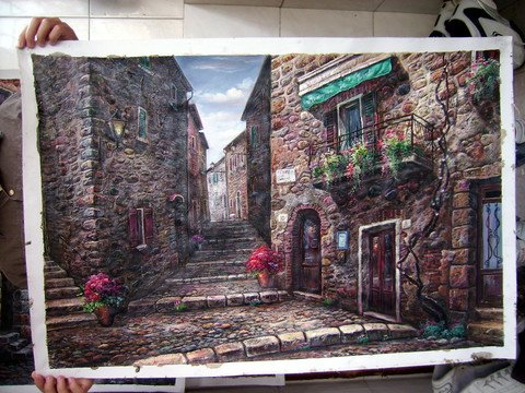 100% handmade excellent scenery oil painting on canvas