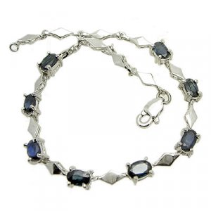 Brand 'LIYING' 925 Sterling Silver Bracelet With Natural Blue Diamond
