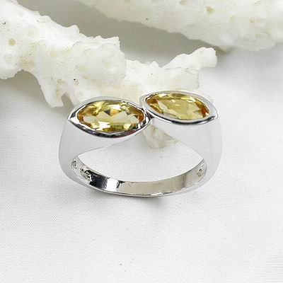 Charming 925 Sterling Silver Lovers' Rings With Natural Champagne Diamond