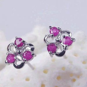 Brand 'LIYING' 925 Sterling Silver Earrings with Nature  Ruby