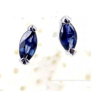 Brand 'LIYING' 925 Sterling Silver Earrings with Nature Blue Diamond