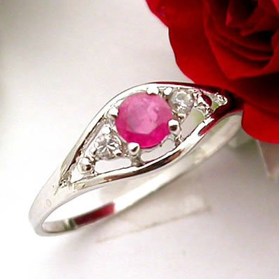 Brand 'LIYING' 925 Sterling Silver Ring with Natural Ruby