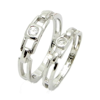 Brand 'LIYING' 925 Sterling Silver Lovers' Ring with Natural Diamond