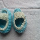 Blue crocheted newborn side buttoned loafers