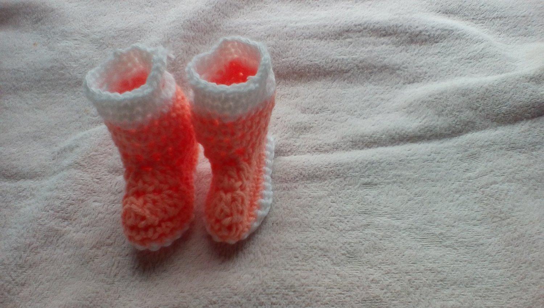 Peach newborn rainboots