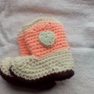 Peach and cream newborn cowboy booties