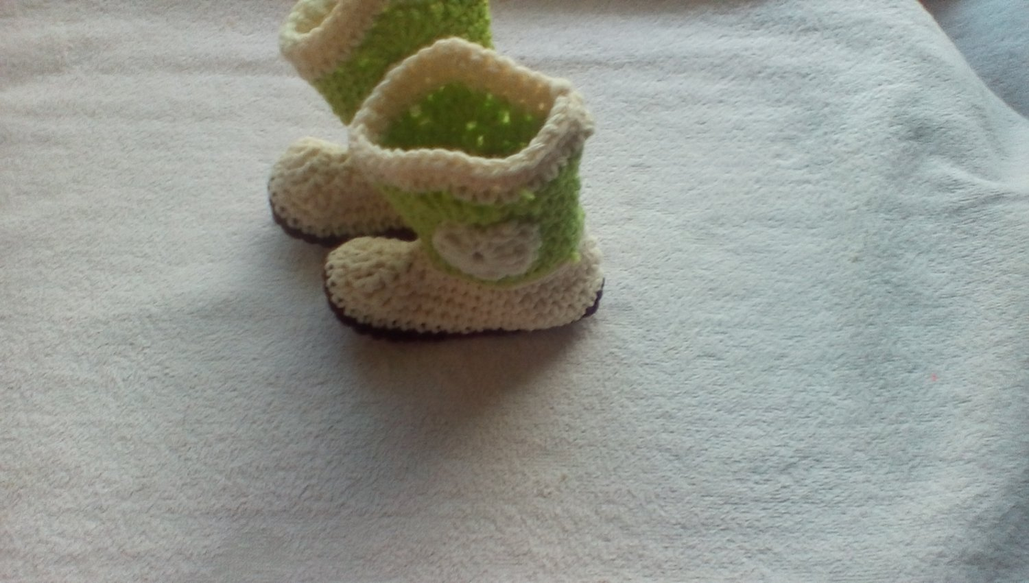 Newborn green and cream crocheted cowboy booties