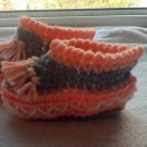 Newborn two toned peach and gray moccasins