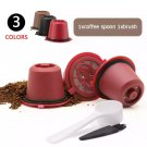 3pcs Refillable Reusable Coffee Capsule Filters for Nespresso Coffee Machine with Brush Spoon