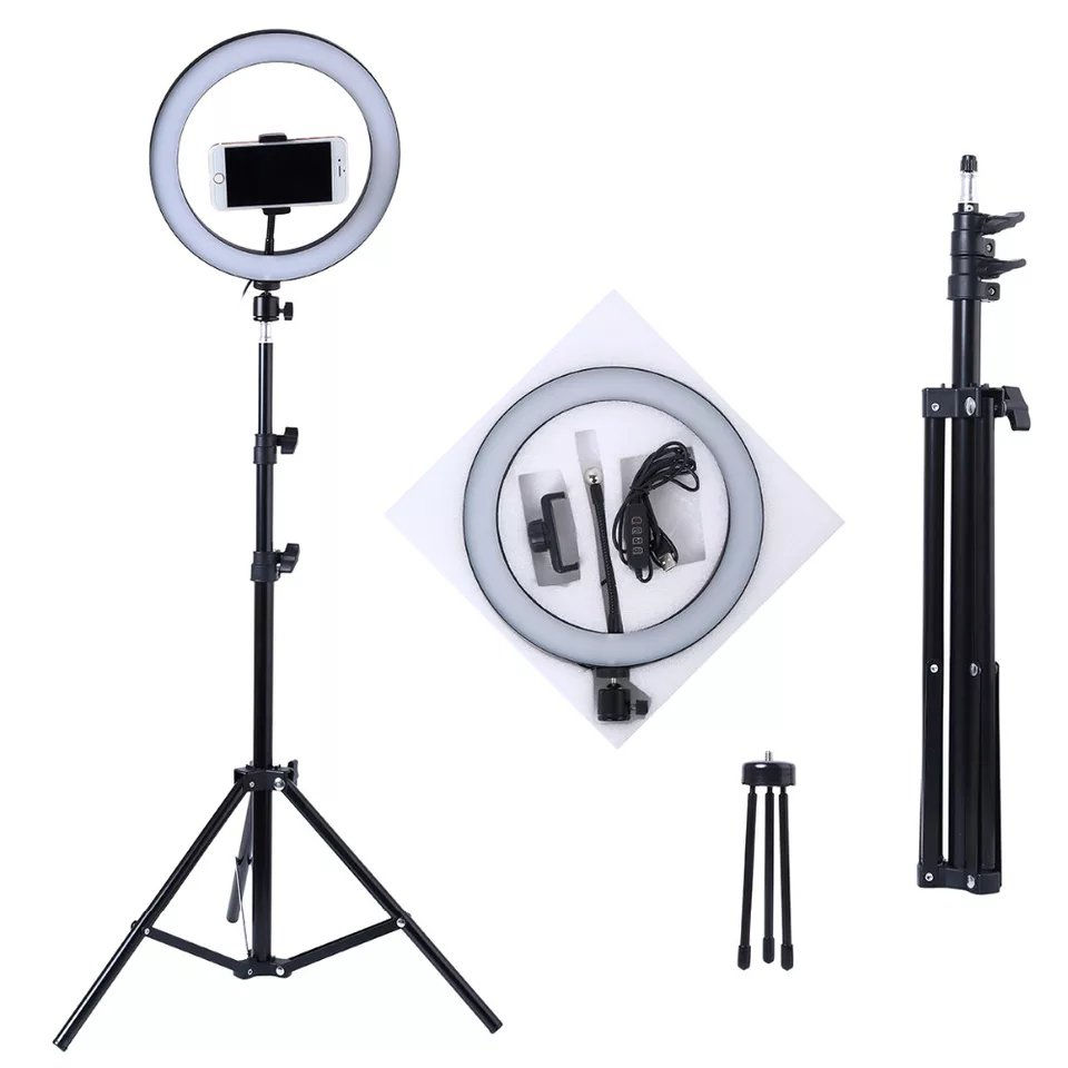 Photography LED Selfie Ring Light 10inch Metal Dimmable Camera Phone Ring Lamp