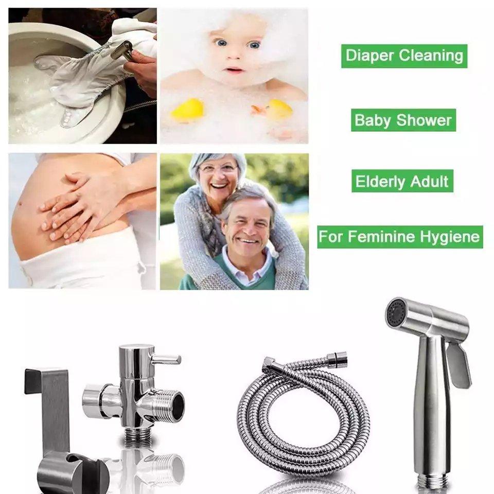 Handheld Toilet Bidet Sprayer Set Kit Stainless Steel Hand Bidet Flexible Faucet