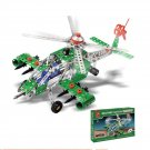 270 Piece Metal Toy Military Action Metal Building Kit Apache Armed Helicopter
