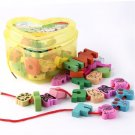 Wooden Lacing Beads Animals Blocks Heart-shape Box Threading Educational Toy