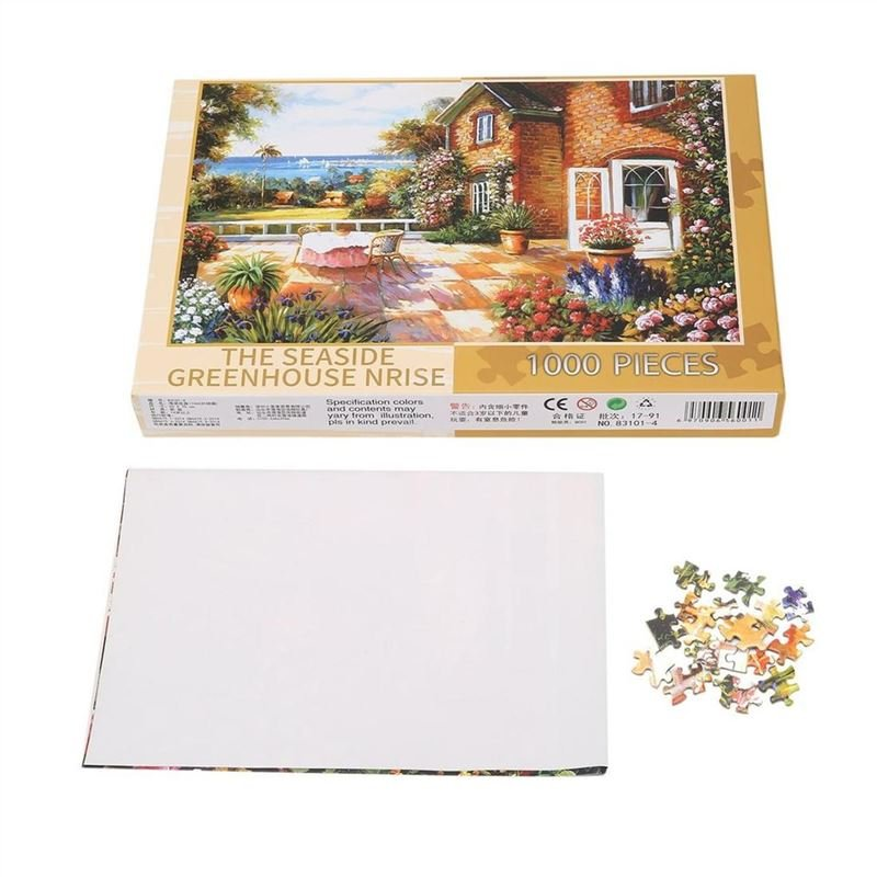 1000pcs The Seaside Greenhouse Puzzle Paper Jigsaw Puzzle Educational Toys
