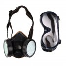 Protection Filter Double Gas Mask Chemical Gas Respirator Face Mask Goggles