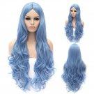 Cosplay Wig Sky Blue Euramerican Style Long Curly Hair Wig Sky Blue