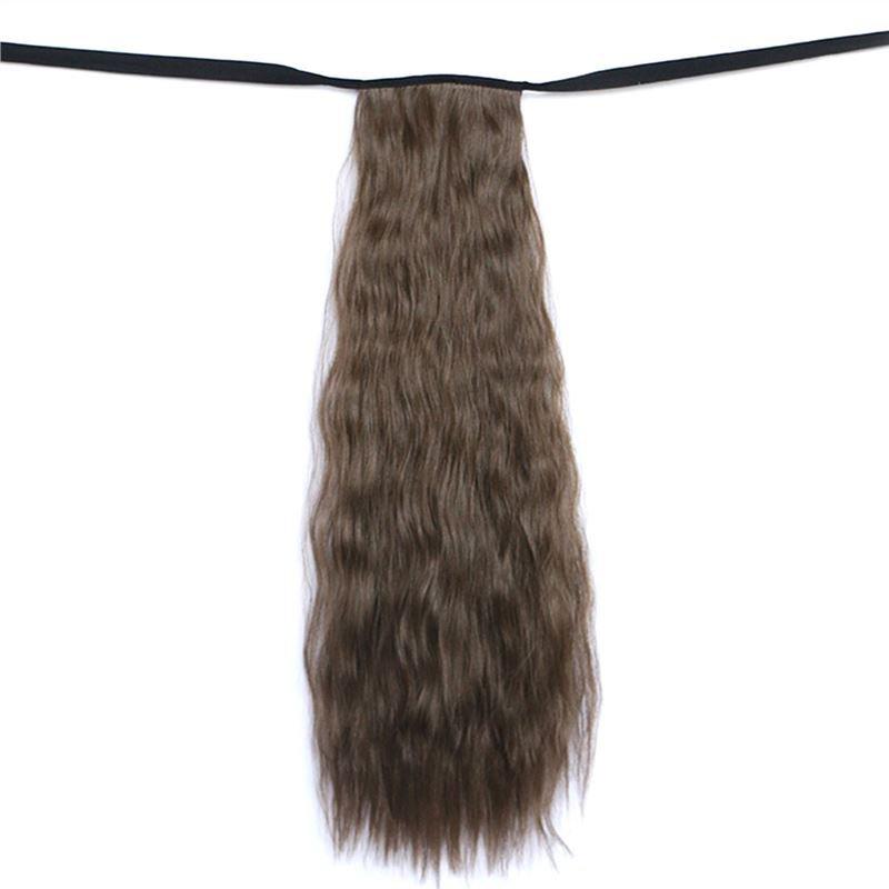 Man Wu Wig Tie On Ponytail Banded  Wave Curly Hair Wig 6B