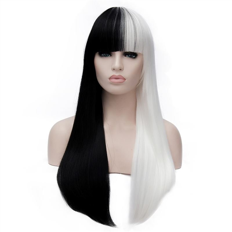 Man Mei Fashion Cosplay COS Wig Black with White 70cm Black with White
