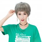 Girls Short Wig with Bangs Natural Looking Synthetic Wig WS03 F1 Steel Gray Steel Gray