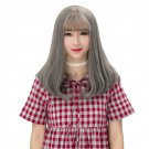 Girls Middle Long Hair Wig with Bangs Natural Looking Synthetic Hair Wig WM01 F1 Steel Gra