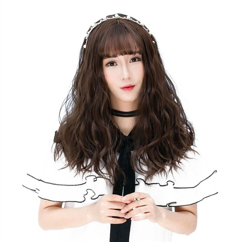 Girls Middle Long Fluffy Hair Wig with Bangs Natural Looking Synthetic Hair Wig WM02 F8 Ch