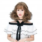 Shoulder-length Curly Hair Wig Wispy Fringes Natural Looking Synthetic Hair Wig WM06 F7 Bo