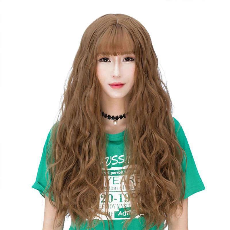 Fluffy Long Curly Hair Wig Wispy Fringes Natural Looking Synthetic Hair Wig WL01 F3 Candy