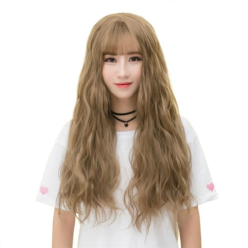 Fluffy Long Curly Hair Wig Wispy Fringes Natural Looking Synthetic Hair Wig WL01 F7 Boring