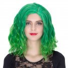 Man Mei COS Wig Halloween Theme Wig A382 SW1893 Short Curly Hair Green Fading Green Fading