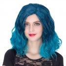 Man Mei COS Wig Halloween Theme Wig A278 SW1886 Short Curly Hair Blue Fading Blue Fading
