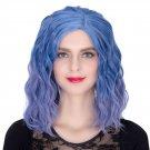 Man Mei COS Wig Halloween Theme Wig A289 SW1889 Short Curly Hair Blue Fading Blue Fading