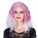 Man Mei COS Wig Halloween Theme Wig A325 SW1891 Short Curly Hair Purple White Fading Purpl