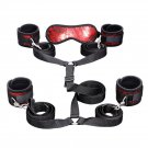 Sex Restraint Belt Set Nylon Handcuffs Ankle Cuffs Eye Mask Bed Toys For Adult