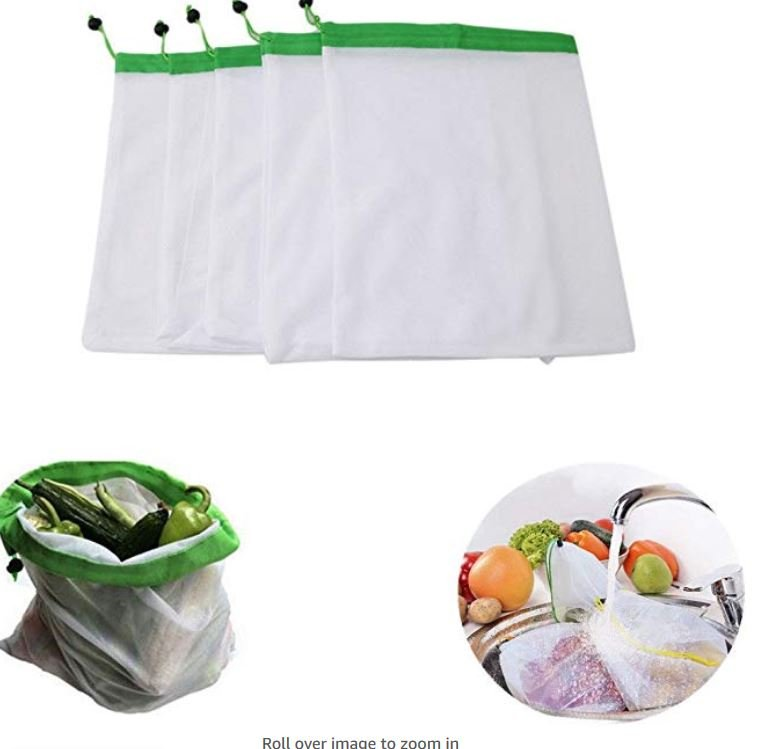 5pcs Reusable Mesh Storage Bag For Grocery Shopping Fruit Vegetable Toys Storage Mesh