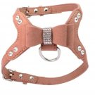Soft Suede Leather Dog Harness Rhinestone Pet Vest Brown