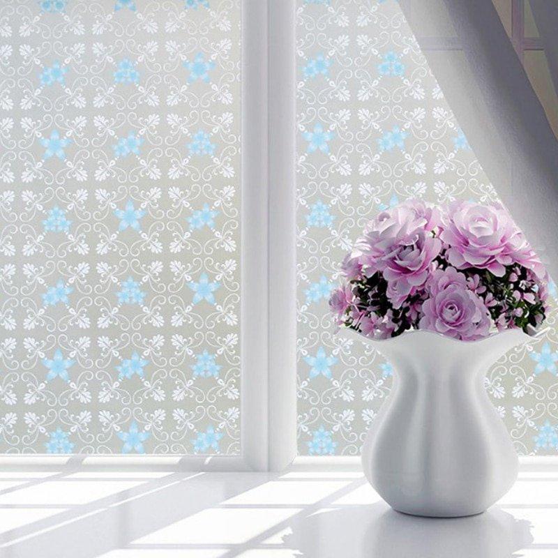 Film Window Decorative Film Frosted Glass  Door Bathroom Window Translucent Opaque Style 3