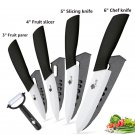 Ceramic   Kitchen knives 3 4 5 6 inch Chef knife Cook Set+peeler white zirconia blade  Black