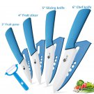 Ceramic   Kitchen knives 3 4 5 6 inch Chef knife Cook Set+peeler white zirconia blade Blue