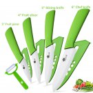 Ceramic   Kitchen knives 3 4 5 6 inch Chef knife Cook Set+peeler white zirconia blade Green