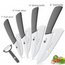 Ceramic   Kitchen knives 3 4 5 6 inch Chef knife Cook Set+peeler white zirconia blade Grey