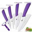 Ceramic   Kitchen knives 3 4 5 6 inch Chef knife Cook Set+peeler white zirconia blade Purple