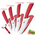 Ceramic   Kitchen knives 3 4 5 6 inch Chef knife Cook Set+peeler white zirconia blade red