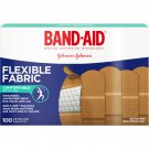 "Band Aid J&J Flexible Fabric, 1"" x 3"", 100 Adhesive Bandages"