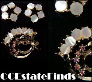 Estate Find - Vintage CORO MOP Demi Earrings & Brooch