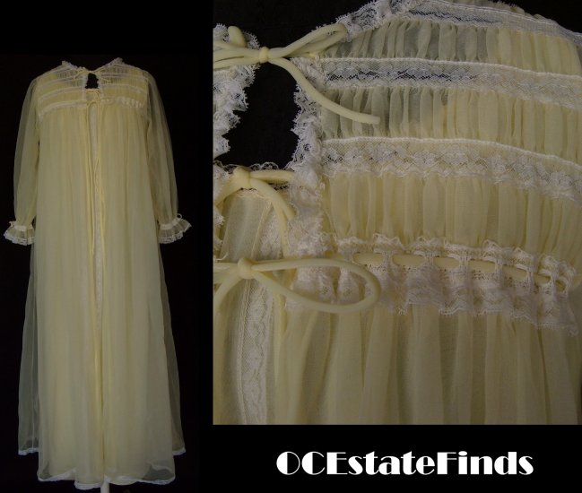 Estate Find - Vintage MISS ELAINE Yellow Long Pegnoir Medium