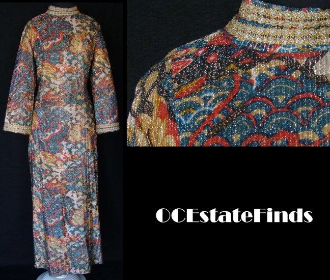 Estate Find - 60s Vintage METALLIC Thread Gown L