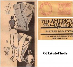Estate Find - 1940s Vintage Mail Order Vest-Blouse Pattern B 30