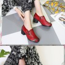 Women Flats Old Mother Female Handmade Shoes Loafers Cow Genuine Leather Casual Floral