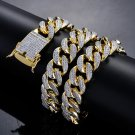 18mm width 18inch 22inch Iced out Bling bling Copper Cuban Chain Hip Hop micro pave Chain Necklace