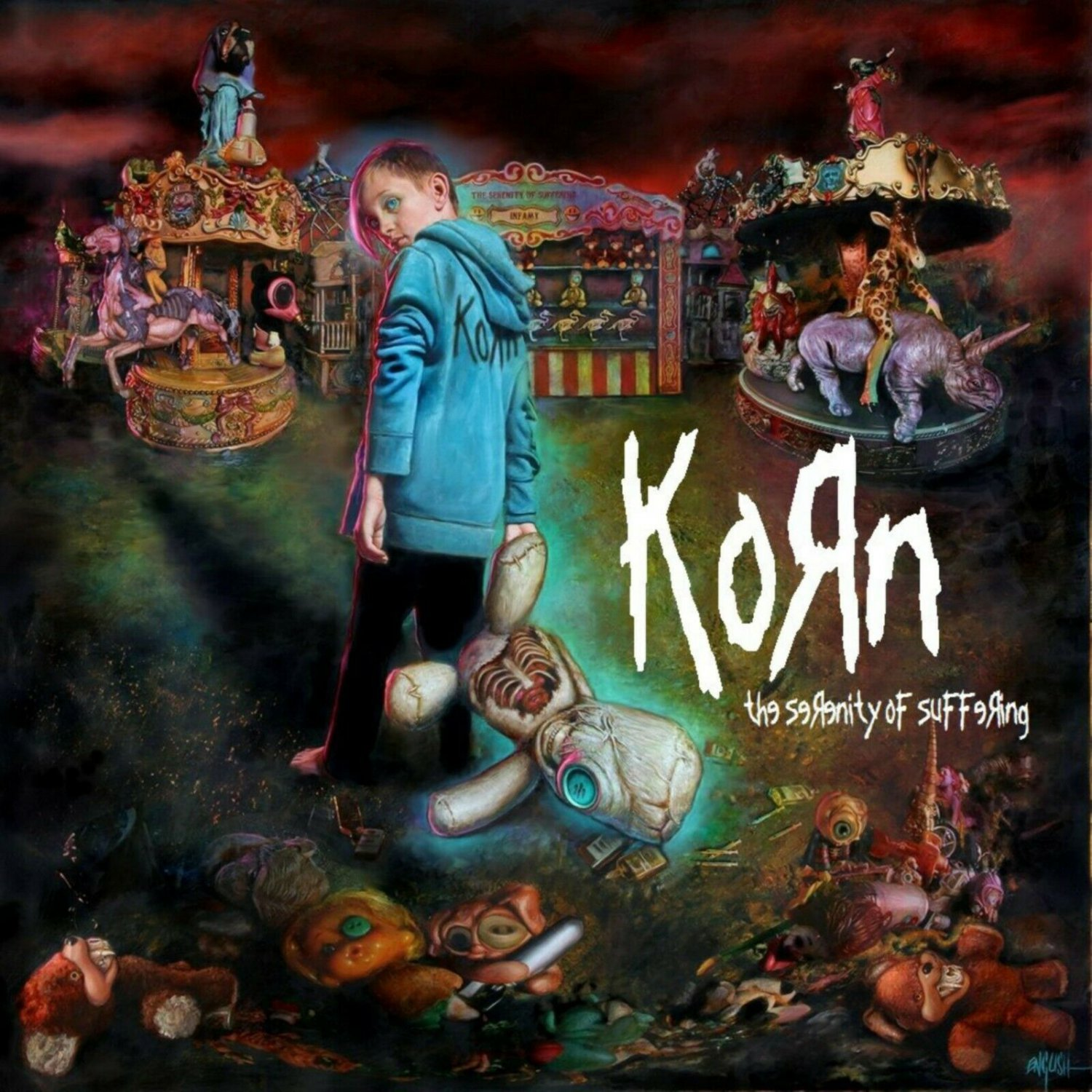 KORN The Serenity of Suffering BANNER Huge 4X4 Ft Fabric Poster Tapestry Flag Print album cover art